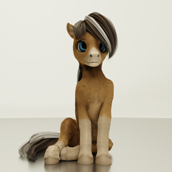 Size: 2560x2560 | Tagged: safe, artist:gammahoof, oc, oc only, oc:cinnamon spice, earth pony, pony, 3d, blender, female, high res, mare, sitting, smiling