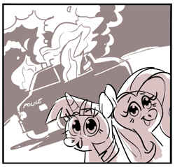 Size: 681x651 | Tagged: safe, artist:kylesmeallie, fluttershy, twilight sparkle, burning, fire, monochrome, police car, smiling, this is fine