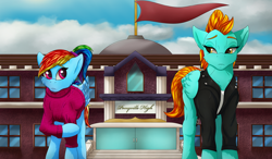 Size: 1832x1067 | Tagged: safe, artist:crimsonwolf360, lightning dust, rainbow dash, pegasus, pony, building, clothes, high school, jacket, looking at each other, raised hoof, school, sweater
