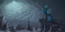 Size: 2000x1000 | Tagged: safe, artist:luminousdazzle, queen chrysalis, changeling, changeling queen, cloud, crown, female, jewelry, solo