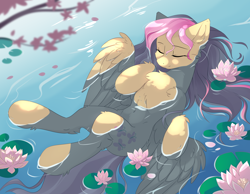 Size: 3600x2800 | Tagged: safe, artist:dreamweaverpony, fluttershy, pegasus, pony, belly, belly button, cheek fluff, chest fluff, cute, ear fluff, eyes closed, female, floating, flower, fluffy, high res, hoof fluff, hooves to the chest, in water, leg fluff, lilypad, mare, on back, outdoors, partially submerged, peaceful, shoulder fluff, shyabetes, smiling, solo, spread wings, stray strand, three quarter view, water, water lily, wings