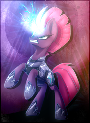 Size: 883x1200 | Tagged: safe, artist:bloody-pink, tempest shadow, pony, magic, rearing, solo