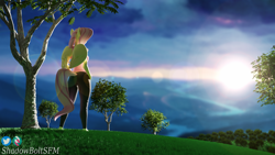 Size: 3840x2160 | Tagged: safe, artist:shadowboltsfm, fluttershy, anthro, pegasus, plantigrade anthro, 3d, 4k, barefoot, beautiful, blender, feet, female, grass, lens flare, standing, sunrise, tree