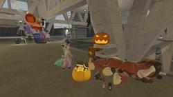 Size: 1280x720 | Tagged: safe, artist:horsesplease, trouble shoes, galarian ponyta, human, ponyta, bronycon, 3d, baltimore convention center, chair, drunk, drunken shoes, gmod, halloween, holiday, jack-o-lantern, pokémon, pumpkin, sfm pony, sleeping, throne