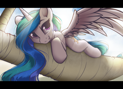 Size: 2276x1658 | Tagged: safe, artist:hitbass, princess celestia, alicorn, pony, backlighting, crepuscular rays, cute, cutelestia, female, looking at you, lying, mare, solo, spread wings, tongue out, vacation, wings