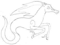 Size: 1252x940 | Tagged: safe, artist:parclytaxel, oc, oc only, oc:spindle, windigo, series:nightliner, female, lineart, monochrome, pencil drawing, solo, traditional art, windigo oc