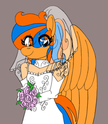 Size: 1657x1899 | Tagged: safe, artist:supra80, oc, oc:cold front, anthro, pegasus, anthro oc, bridal veil, clothes, crossdressing, dress, femboy, flower, male, photoshop, rose, see-through, solo, wedding dress, wings, wip