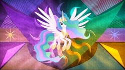 Size: 3840x2160   Tagged: safe, artist:laszlvfx, artist:negatif22, edit, princess celestia, pony, female, movie accurate, solo, wallpaper, wallpaper edit
