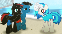 Size: 10830x5984 | Tagged: safe, artist:agkandphotomaker2000, dj pon-3, vinyl scratch, oc, oc:arnold the pony, oc:pony video maker, pegasus, pony, unicorn, beach, canon x oc, clothes, concerned, disappointed, disinflated ball, female, holding the laughter, male, ocean, red and black oc, red eyes, shipping, show accurate, sports, straight, swimsuit, unicorn problems, videoscratch, volleyball, volleyball net