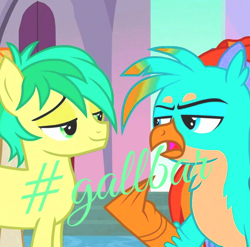 Size: 624x617 | Tagged: safe, color edit, edit, edited screencap, editor:yourockedcp, screencap, gallus, sandbar, earth pony, griffon, pony, colored, gallbar, gay, male, shipping, test