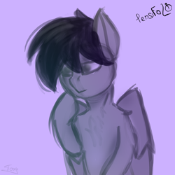 Size: 3000x3000 | Tagged: safe, artist:graphictoxin, oc, oc only, oc:pensifolio, pegasus, pony, absurd resolution, bust, fluffy, portrait, simple background, sketch, solo, thinking, wings