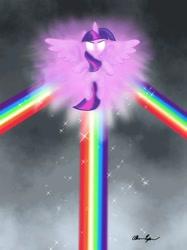 Size: 1280x1707 | Tagged: safe, artist:robots-art, twilight sparkle, alicorn, the ending of the end, glowing eyes, rainbow, scene interpretation, signature, solo, twilight sparkle (alicorn)