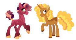Size: 968x515 | Tagged: safe, artist:strawberry-spritz, oc, oc:bumblebee comet, oc:poppyseed meadow, earth pony, pony, unicorn, cloven hooves, coat markings, offspring, parent:big macintosh, parent:twilight sparkle, parents:twimac, simple background, transparent background, watermark