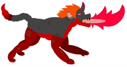 Size: 1224x653 | Tagged: safe, artist:uniconwizard, oc, oc:celsius, changeling, dragon, hybrid, breathing fire, fire, fire breath, glowing horn, glowing teeth, horn, red fire, scorpion tail, simple background, solo, white background