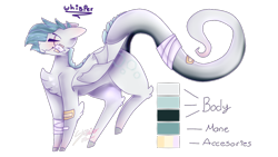 Size: 1280x720 | Tagged: safe, artist:shinningblossom12, oc, oc only, bat pony, pony, bandage, bandaid, bat pony oc, bat wings, blushing, chest fluff, eye scar, leonine tail, reference sheet, scar, simple background, smiling, solo, transparent background, wings