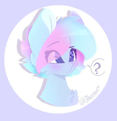 Size: 545x560 | Tagged: safe, artist:shinningblossom12, oc, oc only, oc:shinning blossom, pegasus, pony, blushing, bust, eye clipping through hair, female, mare, pegasus oc, question mark, smiling, solo