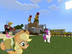 Size: 2048x1536 | Tagged: safe, artist:topsangtheman, applejack, pinkie pie, queen novo, classical hippogriff, earth pony, hippogriff, pony, my little pony: the movie, the super speedy cider squeezy 6000, cider, minecraft, photoshopped into minecraft, school bus
