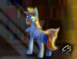 Size: 1024x792 | Tagged: safe, artist:adhiguna, artist:johnathon-matthews, oc, oc only, oc:stacks, pony, unicorn, bookshelf, commission, deviantart watermark, glasses, library, obtrusive watermark, solo, watermark