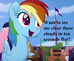 Size: 968x792 | Tagged: safe, edit, edited screencap, screencap, rainbow dash, my little pony: the movie, 10 seconds flat, bronybait, canterlot, cropped, cute, dashabetes, pennant, speech, talking