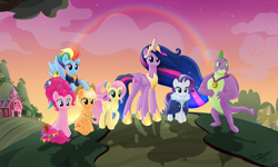 Size: 6960x4164 | Tagged: safe, artist:sweetietwily19, applejack, fluttershy, pinkie pie, rainbow dash, rarity, spike, twilight sparkle, alicorn, dragon, earth pony, pegasus, pony, unicorn, the last problem, absurd resolution, mane seven, mane six, older, older applejack, older fluttershy, older mane seven, older mane six, older pinkie pie, older rainbow dash, older rarity, older spike, older twilight, princess twilight 2.0, rainbow, scene interpretation, twilight sparkle (alicorn), winged spike