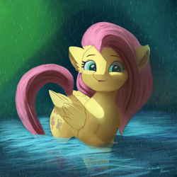 Size: 4000x4000 | Tagged: safe, artist:auroriia, artist:miokomata, fluttershy, pegasus, pony, absurd resolution, collaboration, cute, ear fluff, female, mare, open mouth, rain, shyabetes, smiling, solo, water