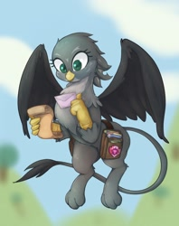 Size: 1622x2048 | Tagged: safe, artist:noupu, gabby, griffon, bag, blurred background, cute, cutie mark crusaders patch, female, flying, gabbybetes, letter, saddle bag, scroll, solo