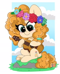 Size: 1654x2048 | Tagged: safe, artist:itskittyrosie, artist:kittyrosie, pear butter, earth pony, pony, blushing, cloud, cute, female, floral head wreath, flower, guitar, mare, moss, musical instrument, pearabetes, rock, sitting, solo