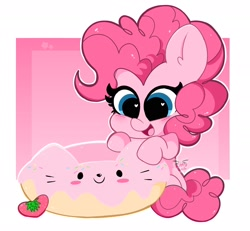 Size: 2048x1890 | Tagged: safe, artist:kittyrosie, pinkie pie, cat, earth pony, pony, cute, diapinkes, donut, female, food, happy, heart eyes, mare, open mouth, sitting, smiling, solo, strawberry, wingding eyes