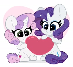 Size: 2048x1890 | Tagged: safe, artist:kittyrosie, rarity, sweetie belle, pony, unicorn, blushing, cute, duo, female, filly, happy, heart, mare, siblings, sisters, sitting, smiling
