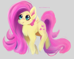 Size: 3000x2400 | Tagged: safe, artist:skylacuna, fluttershy, pegasus, pony, cute, female, gray background, high res, mare, shyabetes, simple background, small wings, solo, wings