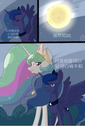 Size: 509x750 | Tagged: safe, artist:阿狼与甜食, princess celestia, princess luna, alicorn, pony, comic:岁月, chinese, comic
