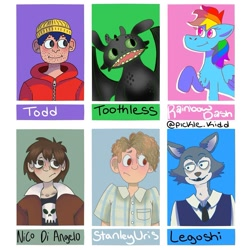 Size: 1071x1071 | Tagged: safe, artist:pickle.kidd, rainbow dash, anthro, dragon, human, pegasus, pony, wolf, six fanarts, :o, anthro with ponies, bojack horseman, bust, clothes, female, how to train your dragon, it, jewelry, legosi (beastars), male, mare, necklace, nico di angelo, open mouth, percy jackson, raised hoof, smiling, stan uris, todd chavez, toothless the dragon