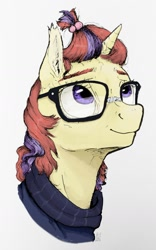Size: 1024x1644 | Tagged: safe, artist:rachelmacready, moondancer, pony, unicorn, bust, clothes, female, glasses, looking up, mare, mixed media, portrait, simple background, solo, three quarter view