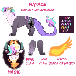 Size: 3000x3000 | Tagged: safe, artist:glitterstar2000, oc, oc only, oc:nayade, draconequus, hybrid, artificial wings, augmented, draconequus oc, female, fire, interspecies offspring, magic, magic wings, offspring, parent:discord, parent:princess celestia, parents:dislestia, reference sheet, simple background, solo, white background, wings