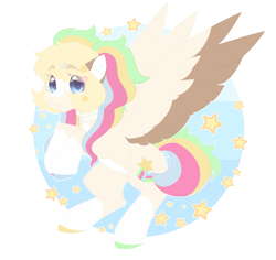Size: 1920x1816 | Tagged: safe, artist:koishay, oc, oc only, pegasus, pony, colored hooves, colored wings, female, flying, mare, smiling, solo, stars, two toned wings, wings