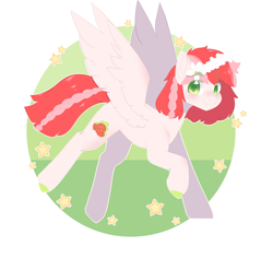 Size: 1920x1816 | Tagged: safe, artist:koishay, oc, oc only, pegasus, pony, blushing, braid, braided tail, colored hooves, female, floral head wreath, flower, flying, green eyes, looking at you, mare, smiling, solo, spread wings, stars, wings