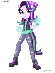 Size: 2048x2732 | Tagged: safe, artist:lordshrekzilla20, starlight glimmer, equestria girls, beanie, clothes, glowing hands, hat, magic, ponied up, pony ears, simple background, solo, transparent background