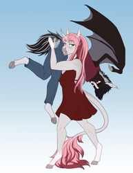Size: 2550x3300 | Tagged: safe, artist:askbubblelee, oc, oc only, oc:damion bates, oc:rosie quartz, anthro, bat pony, pony, unguligrade anthro, unicorn, adorasexy, alternate universe, backless, bat pony oc, bat wings, biceps, big breasts, blaze (coat marking), blushing, breasts, carrying, cleavage, clothes, curved horn, cute, dappled, digital art, female, femdom, gradient background, holding a pony, hooves, horn, legs, leonine tail, male, mare, minidress, muscles, muscular female, ocbetes, over shoulder, over the shoulder, sexy, smiling, socks (coat marking), spanking, stallion, this will end in snu snu, unicorn oc, willowverse, wings