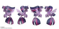 Size: 1710x862 | Tagged: safe, artist:andrew hickinbottom, artist:andyh_3d, part of a set, twilight sparkle, alicorn, seapony (g4), 3d, 3ds max, multiple angles, official, seaponified, seapony twilight, simple background, solo, species swap, twilight sparkle (alicorn), white background