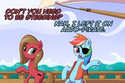 Size: 1200x800 | Tagged: safe, artist:deusexequus, rainbow dash, oc, oc:pun, pony, ask pun, ask, bipedal, pirate dash, pirate ship, pun