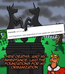 Size: 708x800 | Tagged: safe, artist:lucandreus, oc, oc:supremus longhorn, pony, unicorn, ask pun, ask, gravestone, male, solo, stallion