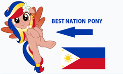 Size: 888x538 | Tagged: safe, artist:jhayarr23, edit, vector edit, oc, oc only, oc:pearl shine, pegasus, pony, caption arrow, cute, flower, flower in hair, flying, looking at you, nation ponies, ocbetes, patriotic, philippines, ponified, show accurate, simple background, solo, vector, white background