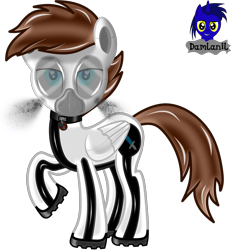 Size: 3840x4154 | Tagged: safe, artist:damlanil, oc, oc only, oc:viper, pegasus, pony, boots, collar, cutie mark collar, gas mask, hazmat pony drone, heart, heart eyes, high res, latex, looking at you, male, mask, raised hoof, rubber, rubber drone, shiny, shiny mane, shoes, show accurate, simple background, solo, stallion, transformation, transparent background, vector, wingding eyes, wings