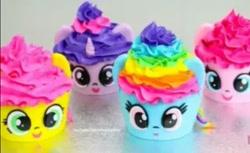 Size: 637x391 | Tagged: safe, fluttershy, pinkie pie, rainbow dash, twilight sparkle, cupcake, food, irl, photo