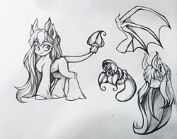 Size: 1920x1510   Tagged: safe, artist:wkirin, oc, oc only, original species, succubus, succubus pony, bat wings, fangs, female, mare, monochrome, reference sheet, solo, unshorn fetlocks, wings