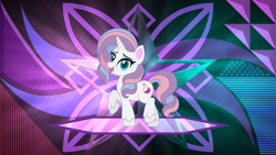 Size: 3840x2160 | Tagged: safe, artist:laszlvfx, artist:theretroart88, edit, potion nova, pony, unicorn, my little pony: pony life, female, looking at you, mare, open mouth, raised hoof, solo, unshorn fetlocks, wallpaper, wallpaper edit