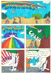 Size: 2352x3396 | Tagged: safe, artist:emperornortonii, derpy hooves, rainbow dash, rarity, comic:rarity's rainbelch, burp, comic page, deviantart, ponyville, traditional art, tree