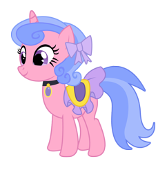 Size: 1612x1667 | Tagged: safe, artist:three uncle, royal ribbon, pony, unicorn, background pony, bow, cute, female, hair bow, jewelry, mare, saddle, simple background, solo, tack, transparent background