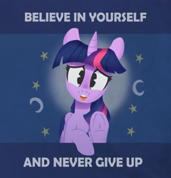 Size: 3500x3648 | Tagged: safe, artist:jimmyjamno1, twilight sparkle, alicorn, pony, complex background, cute, daaaaaaaaaaaw, female, frog (hoof), halo, high res, looking at you, mare, mathematics in the comments, moon, motivational, positive ponies, raised hoof, solo, stars, text, twiabetes, twilight sparkle (alicorn), underhoof