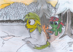 Size: 2366x1680 | Tagged: safe, artist:vovi, oc, oc only, oc:little blader, oc:void virgin sparkles, unicorn, campfire, colt, confused, evening, female, filly, foal, freezing, ice, icicle, male, sitting, snow, steam, traditional art, winter